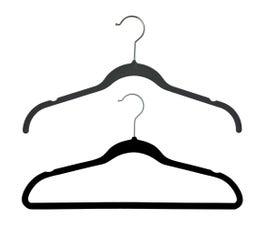 """Plastic Top Hangers - Flocked Slimline w/Notches - 17 3/8"""" Black Velvet"""