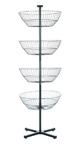 4 Tier Spinning Baskets Floor Display Rack for Retail, Black