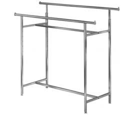 Adjustable Double Bar Garment Rack, Chrome