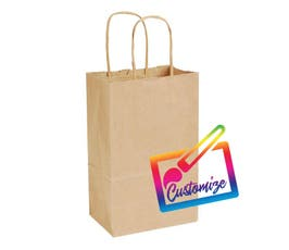 "Sustainable Kraft Shopping Bags with Serrated Edges, Natural - 5.5""x3.25""x8.375"" - 250/CTN."