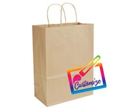 "Sustainable Kraft Shopping Bags with Serrated Edges, Natural – 10""x5""x13.5"" - 250/CTN."