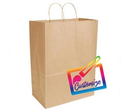 "Sustainable Kraft Shopping Bags with Serrated Edges, Natural – 13"" X 7"" X 12.5"" - 250/CTN."
