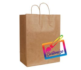 "Sustainable Kraft Shopping Bags with Serrated Edges, Natural – 13"" X 7"" X 17.5"" - 250/Ctn."