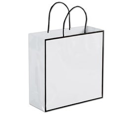Whiteboard White/Black Edge Medium Shoppers