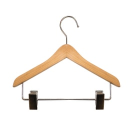 "Wooden Top Hangers - Mini w/Clips - 6"" Natural finish"