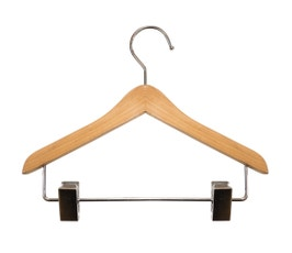 "Wooden Top Hangers - Mini w/Clips - 8"" Natural finish"
