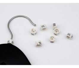 "Mini Size Markers (1/2""), White/Black Imprint (XS-XXXL) – 100 Pack"