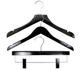 NAHANCO Wood Clothes Hanger Kit - High Gloss Black