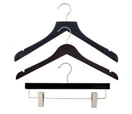 NAHANCO Wood Clothes Hanger Kit - Low Gloss Black