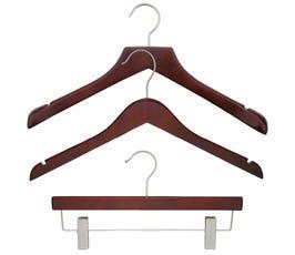 NAHANCO Wood Clothes Hanger Kit - Low Gloss Mahogany