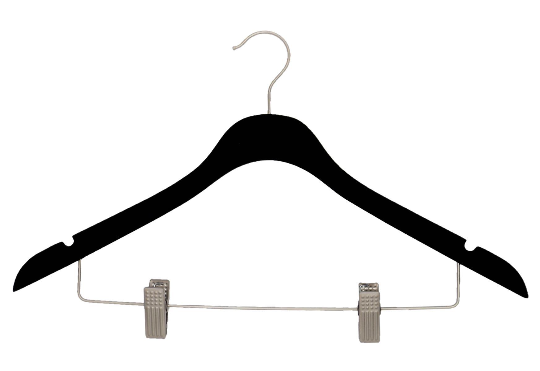 "17"" NAHANCO SlimLine Black Rubberized Wooden Suit Hanger with Chrome Clips, 25pk"