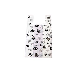 "Black and White Paw Print T-Shirt Bag, 11½""x7""x23"""