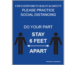 "DO YOUR PART, STAY 6 FEET APART, Blue with White Print Poster Sign, 22"" x 28"""
