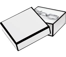 Whiteboard White Jewelry Gift Box with Black Outline, Bracelet/Charm Size