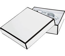 Whiteboard White Jewelry Gift Box with Black Outline, Bracelet Size