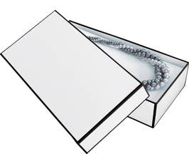 Whiteboard White Jewelry Gift Box with Black Outline, Necklace Size