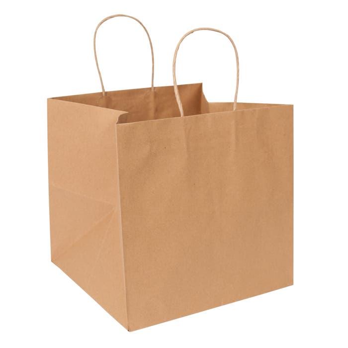 """Eco Natural Kraft Extra-Large Eurostyle Shopper, 10 1/4"""" x 10"""" x 10"""" (Bulk Pack of 200)"""