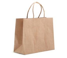 "Eco Natural Kraft Large Eurostyle Shopper,  10"" X 4"" X 8""  (Bulk Pack of 250)"