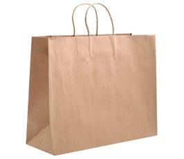 "Eco Natural Kraft XXL Eurostyle Shopper, 19"" X 6"" X 16"" (Bulk Pack of 200)"