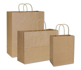 Recycled Kraft Paper Shopping Bag Assortment, 3 Sizes