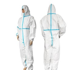 Disposable One-Piece Protective Clothing Jumpsuit, Non-Medical, One Size (Fits Most) - White
