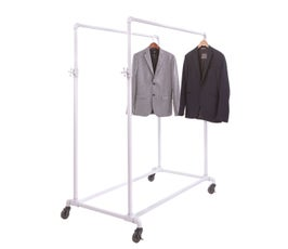 Adjustable and Mobile Double Pipeline Ballet Bar Clothes Rack - White Gloss
