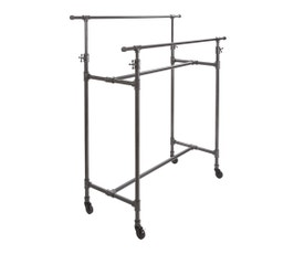 Adjustable and Mobile Pipeline Double Bar Clothing Rack - Anthracite Grey