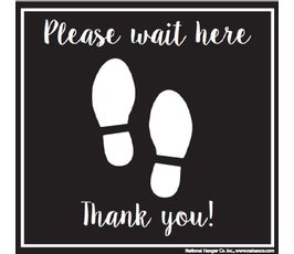 "Please Wait Here, Thank You! Floor Decal with Footprints, Black and White – 10"" x 10"""