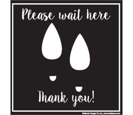 "Please Wait Here, Thank You! Floor Decal with High Heel Footprints, Black and White – 10"" x 10"""