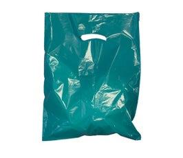 """Teal Die-Cut Handle Bags, 15""""W x 18""""H x 4""""D"""
