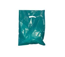 """Teal Die-Cut Handle Bags, 9""""W x 12""""H"""