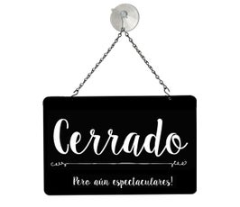 """Spanish Open/Closed """"Awesome"""" Metal Sign Kit, Black - 12""""W x 8""""H"""