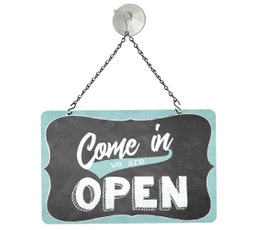 "Blue Washed Tones Open/Closed Metal Sign Kit, 12""W x 8""H"