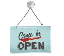 "Blue Retro Open/Closed Metal Sign Kit, 12""W x 8""H"