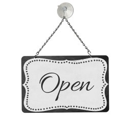 "Grey Open/Closed Metal Sign Kit, 12""W x 8""H"