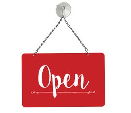 "Red Open/Closed Metal Sign Kit, 12""W x 8""H"