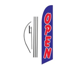 OPEN Feather Banner Swooper Flag Kit Sign with 15 ft Pole and Ground Spike -  Blue and Red
