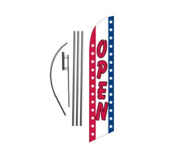 OPEN with Stars/Stripes Feather Banner Swooper Flag Kit Sign with 15 ft Pole and Ground Spike -  Red/White/Blue