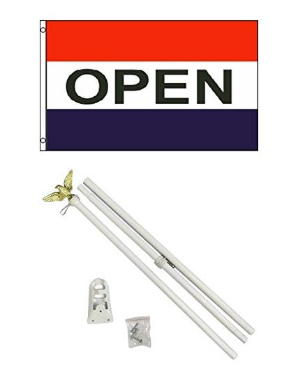 3x5 OPEN for Business Flag w/ 6' Outdoor Pole Kit
