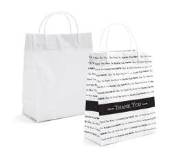 """Plastic Shopping Bags - 8"""" x 4"""" x 10"""" - Black/White"""
