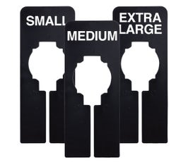 Rectangular Size Divider – Black, Imprinted Small, Medium, Large Sizes: X-SMALL - LARGE MEDIUM