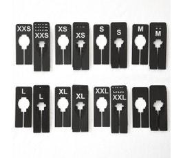 Clothing Rack Size Dividers for Home or Clothing Store, Rectangular Black, White Print; XXS-XXL Kit (8 Sizes, 5 pcs. each)