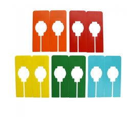 Colorful Rectangular Clothing Size Dividers for Home Closets or Clothing Stores, 5 Mixed Colors - Blank (Kit of 10)