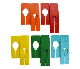 Colorful Rectangular Clothing Size Dividers for Home Closets or Clothing Stores, 5 Mixed Colors - Blank (Kit of 25)