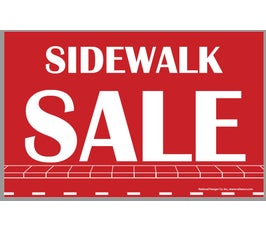 "Card Stock Display Card, ""SIDEWALK SALE"", Red and White- Select Size"