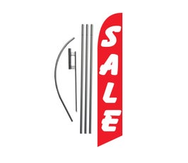 SALE Feather Banner Swooper Flag Kit Sign with 15 ft Pole and Ground Spike -  Red and White