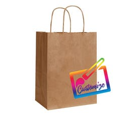 "Sustainable Kraft Shopping Bags with Serrated Edges, Natural – 8""x4.75""x10.5"" - 250/CTN."
