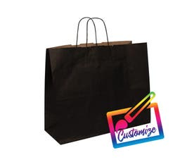 "Kraft Shopping Bags, 16""x6""x13"", Black - 250/CTN."