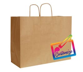 "Sustainable Kraft Shopping Bags with Serrated Edges, Natural– 16""x6""x13"" - 250/CTN."