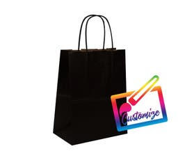 "Kraft Shopping Bags, Small, 8""x4.75""x10.5"", Black - 250/CTN."